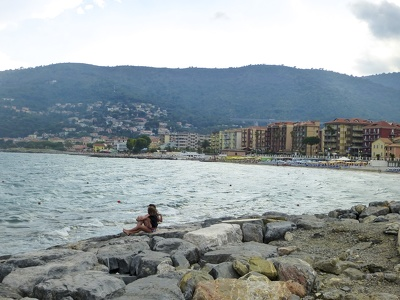 am Strand in Marina di Andora