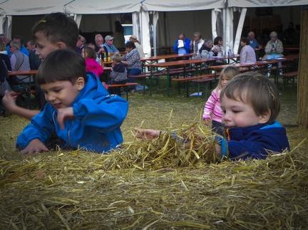 spielen im Stroh -- Der jährliche Strohpark mit Skulpturen aus Stroh in Schwenningen Heuberg.