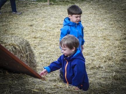 im Stroh spielen -- Der jährliche Strohpark mit Skulpturen aus Stroh in Schwenningen Heuberg.
