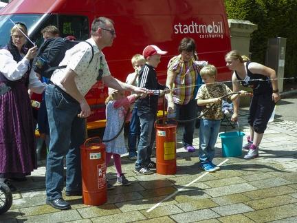 Wasserspritzen beim Landesfest -- Sigmaringen - Wasserspiele beim Landesfest 2015 in Sigmaringen
