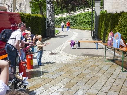 Wasserspiele beim Landesfest -- Sigmaringen - Wasserspritzen beim Landesfest 2015 in Sigmaringen in Baden Würtemberg